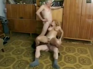 Very old guys enjoy munching on tight college girl pussy