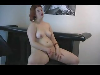 Horny chubby gf redhead showing tits and ass